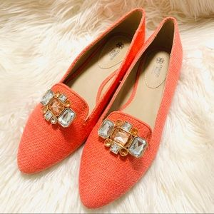 Avon cushion walk jeweled coral flats size 8